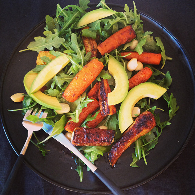 Roasted Carrot, Avocado and Arugula Salad - FoodCoach NYC